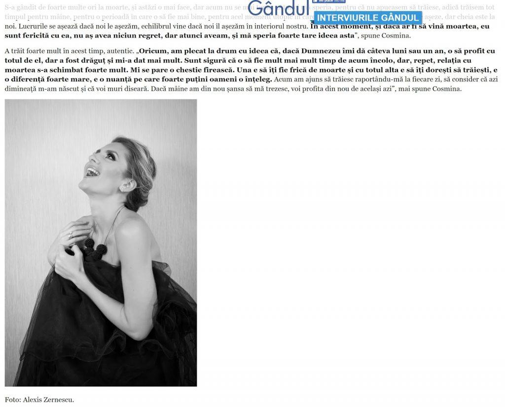 Zalexis Photo alaturi de Cosmina Grigore in ziarul Gandul